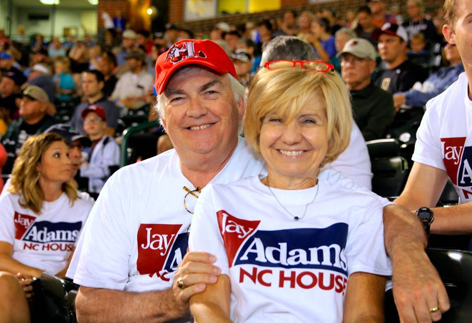 Jay and wife Donna at a Crawdad's game.